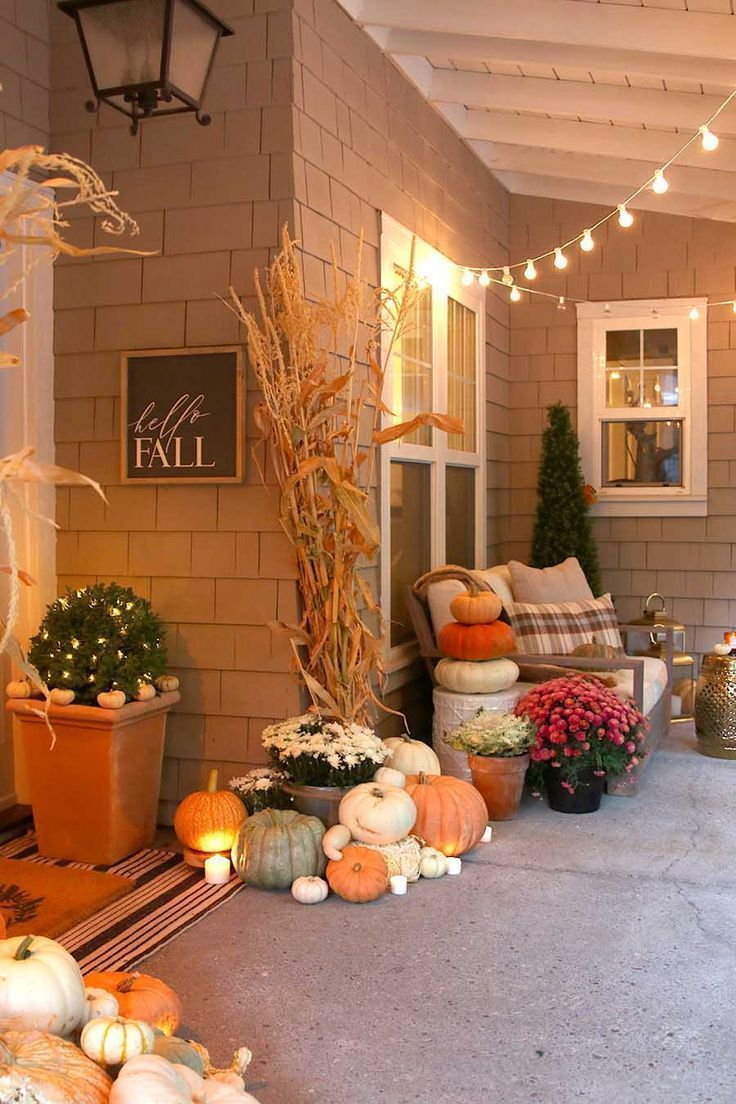 Neutral Fall Porch Decor with Pumpkins and Cornstalks