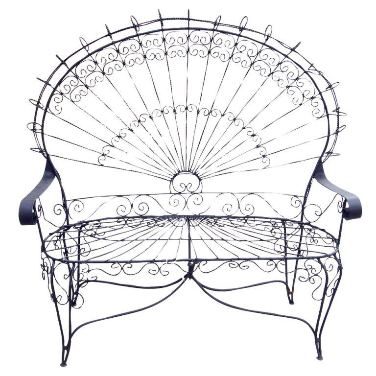 Victorian Style Outdoor Wrought Iron Peacock Settee  Love Seat