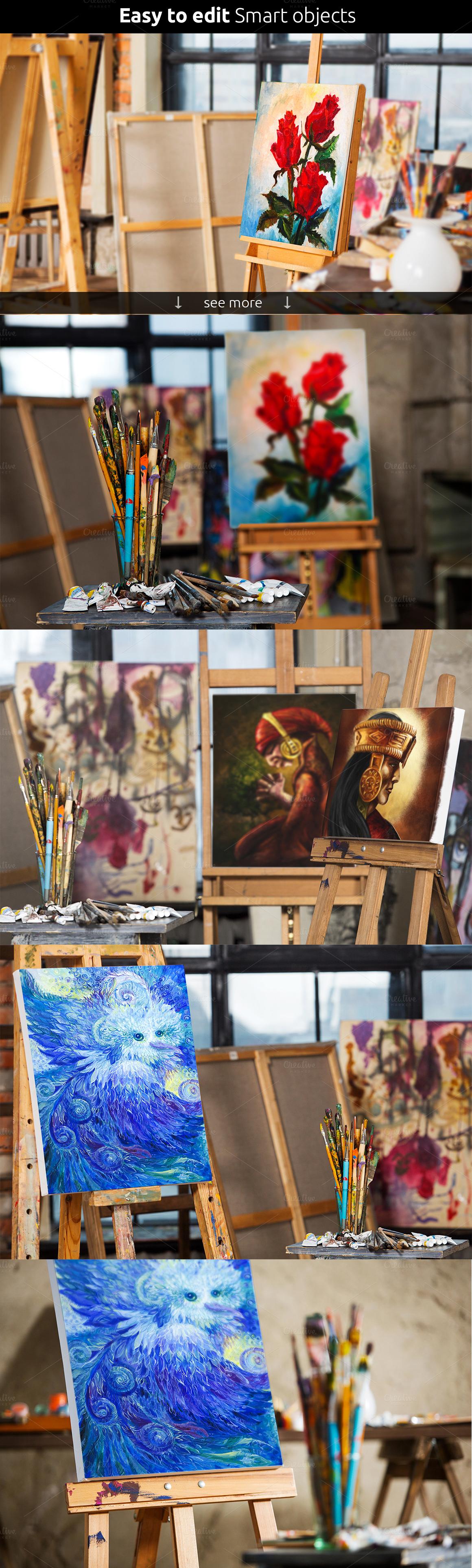 Art Canvas Realistic Studio Mock-Up - Product Mockups - 3