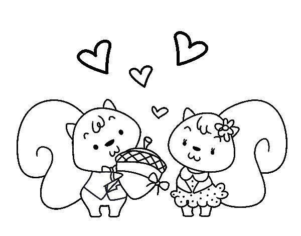 Dibujo de Ardillas enamoradas para Colorear | OTOÑO | Pinterest