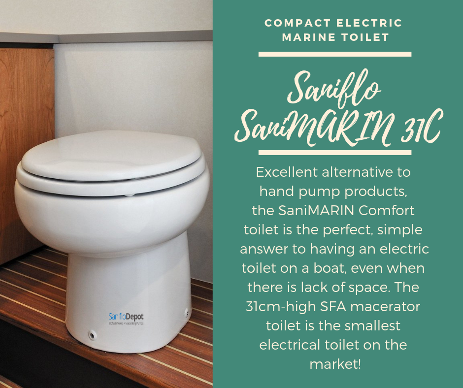 Sanimarin 31c Macerating Electric Marine Toilet Plus Free Soft Close Toilet Seat Electric Toilet Hand Pump Toilet