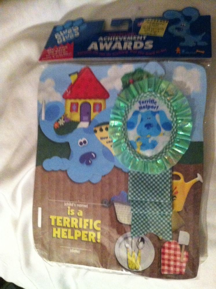 Childtens Blues Clues Achievement Award And Ribbon. Terriffic Helper. New. Eden
