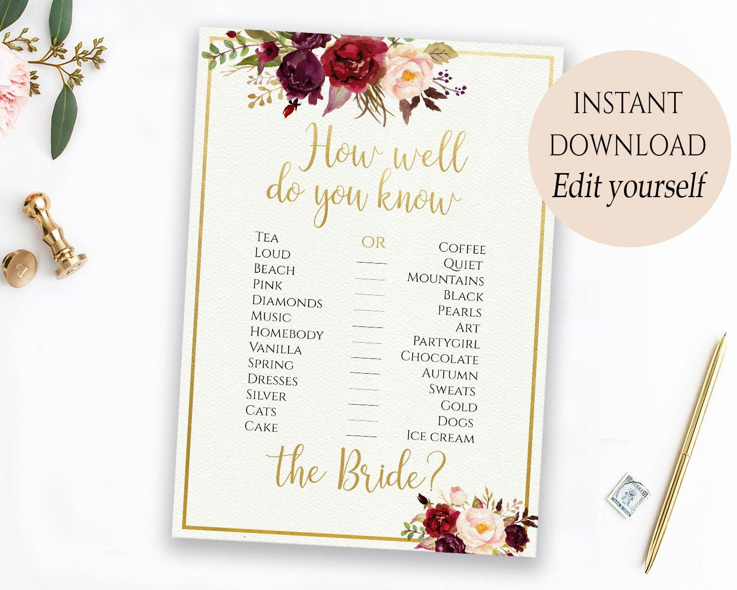 Bridal Shower Game burgundy Printable Instant Download marsala wedding Editable Game PDF Template How Well Do You Know The Bride marsala