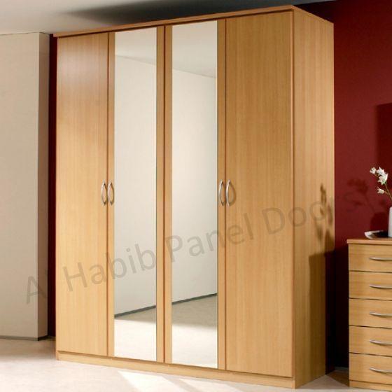 four doors wardrobe with looking glass hpd517 free standing wardrobes al habib panel doors. Black Bedroom Furniture Sets. Home Design Ideas