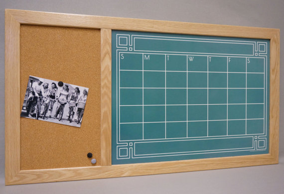 framed chalkboard calendar dry erase board cork bulletin board command center large