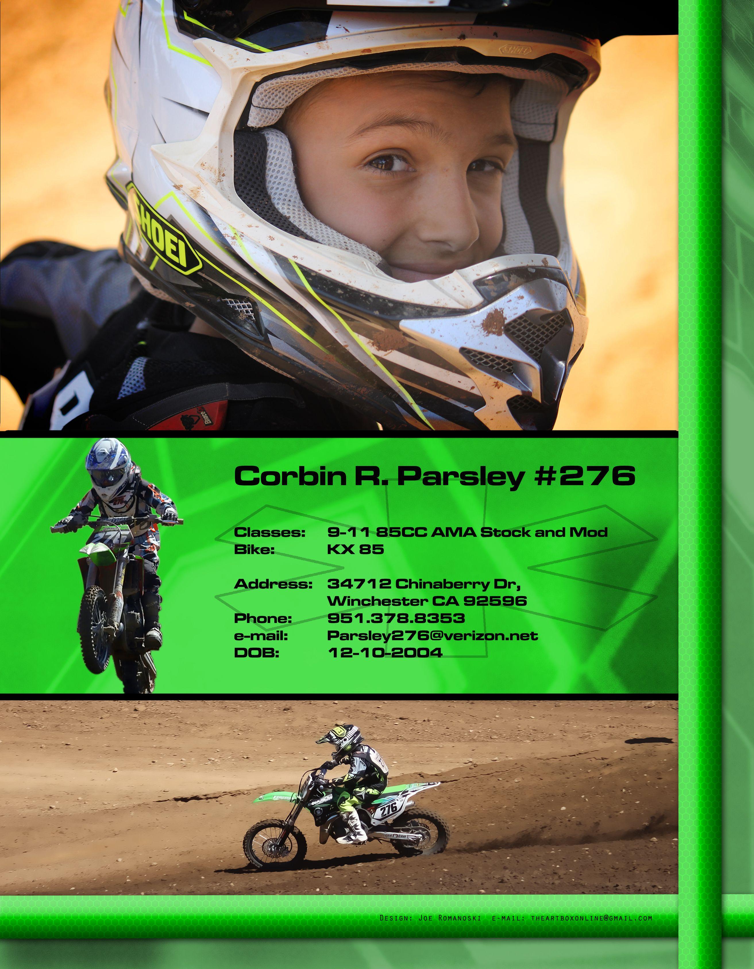 Resume Art For A Motocross Star Motocross Resume Baseball Cards