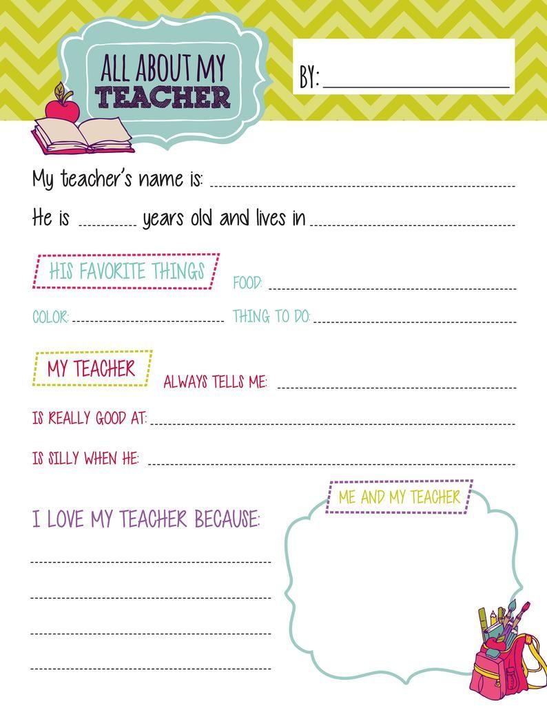 All About My Teacher Questionnaire Printables Teacher Etsy In 2021 Preschool Teacher Appreciation Teacher Appreciation Printables Teacher Questionnaire