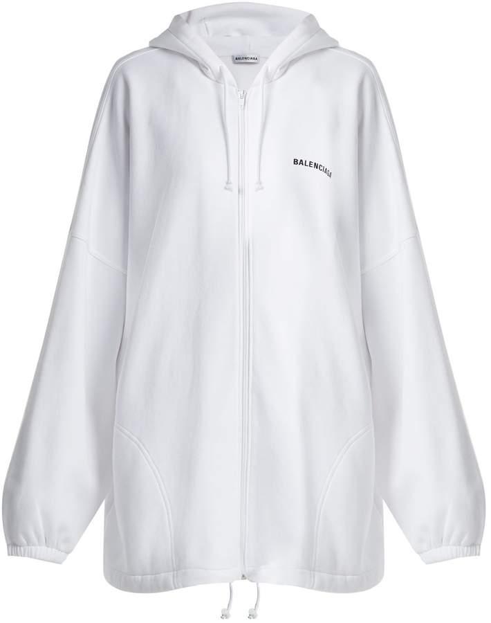 ca814184df25 Balenciaga Oversized logo-embroidered cotton hoodie