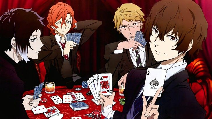 Bungo Stray Dogs Anime Characters Playing Cards Wallpaper ...