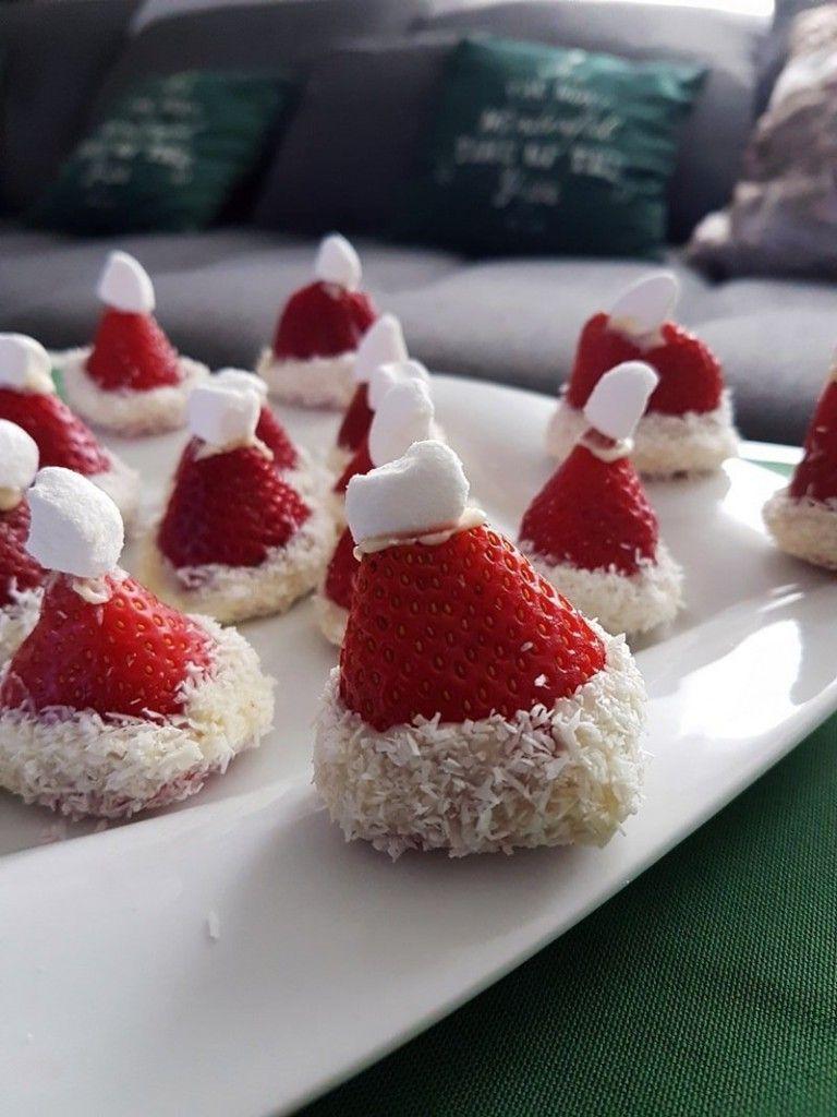 Erdbeer Nikolausmütze - Originelles Dessert zu Weihnachten #nikolausbacken