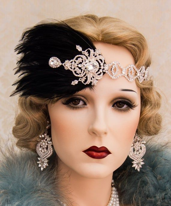 Rhinestone 1920s Roaring Flapper Headbands, Great Gatsby Headpiece, Feather Headband, Art Deco Weding Hair Accessories