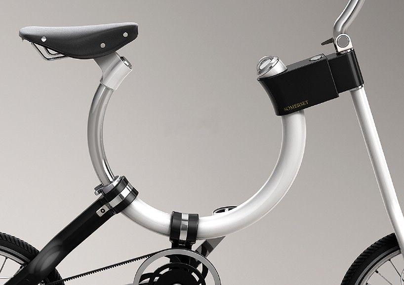 """""""somerset bike's oval-shaped frame slides components for convenient folding"""" from """"designboom""""  home > http://www.designboom.com/"""