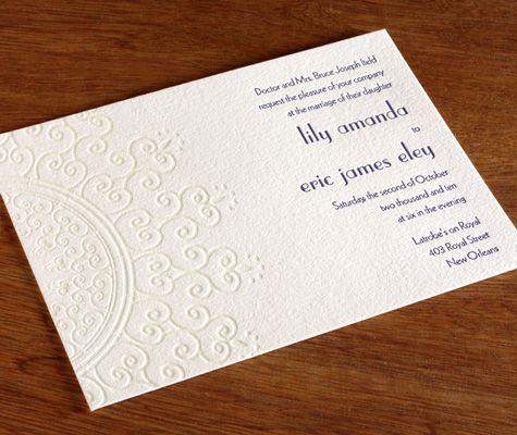 Lalita Indian Letterpress Wedding Invitation Card With Blind Impression