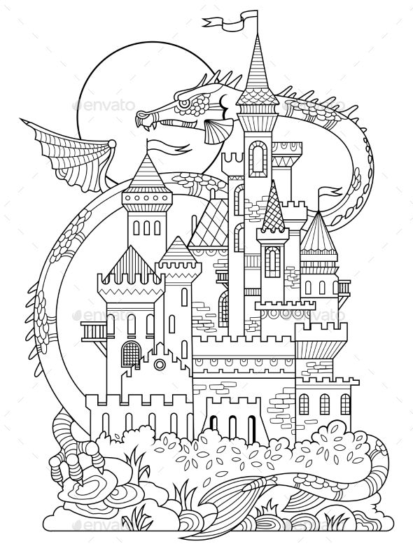 Castle And Dragon Coloring Book Vector Castle Coloring Page Coloring Books Coloring Pages