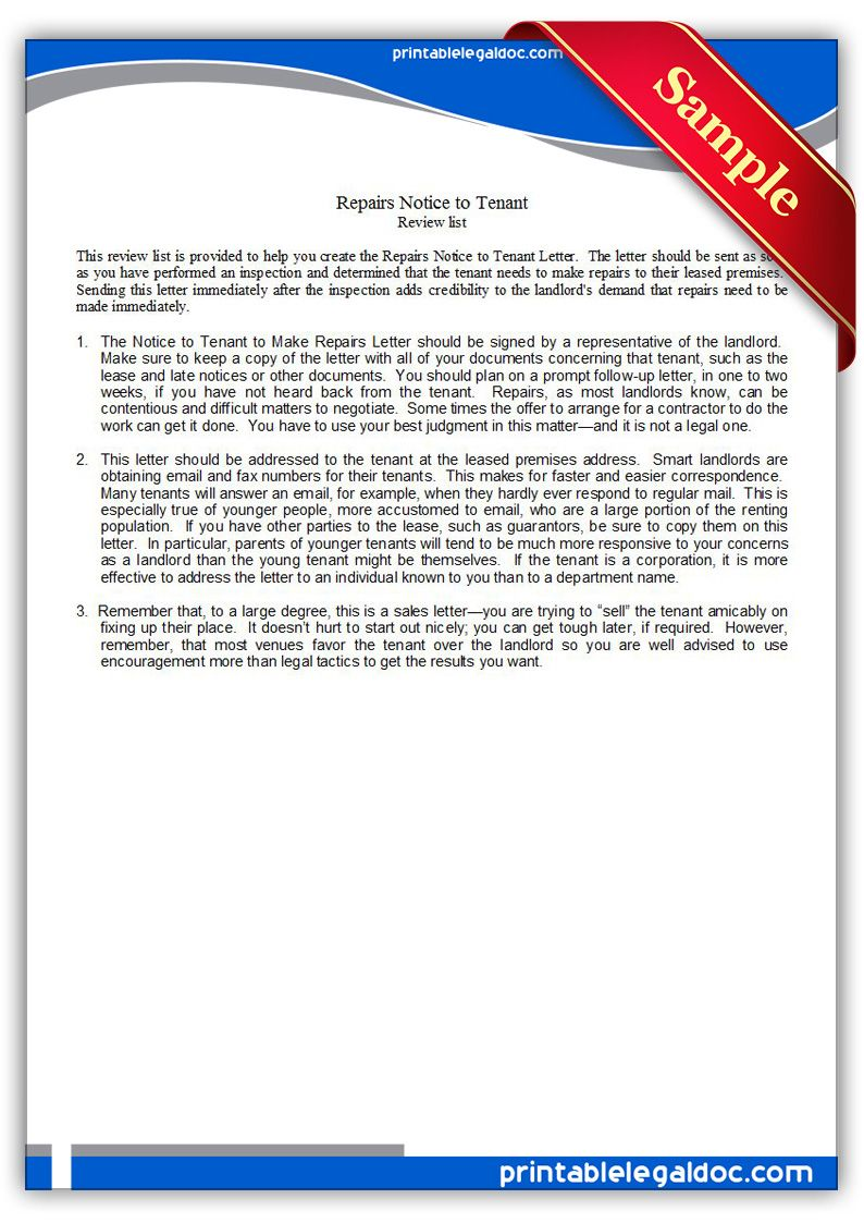 printable repairs notice to tenant template printable legal forms