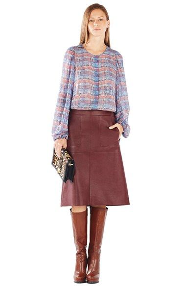 a66a49ab2f181 BCBGMAXAZRIA Sofiya Plaid Bishop Sleeve Silk Blouse - business casual work  outfit - professional fashion