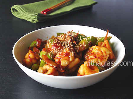 Squid and Celery in Gochujang Sauce