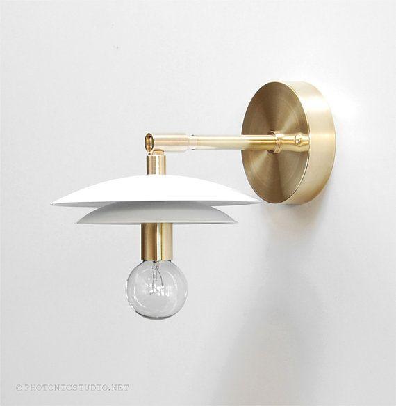 Brass Bedside Wall Lamps : Modern Wall Lamp - Modern Sconce - Modern Wall Light - Adjustable Light - Brass Sconce - Modern ...