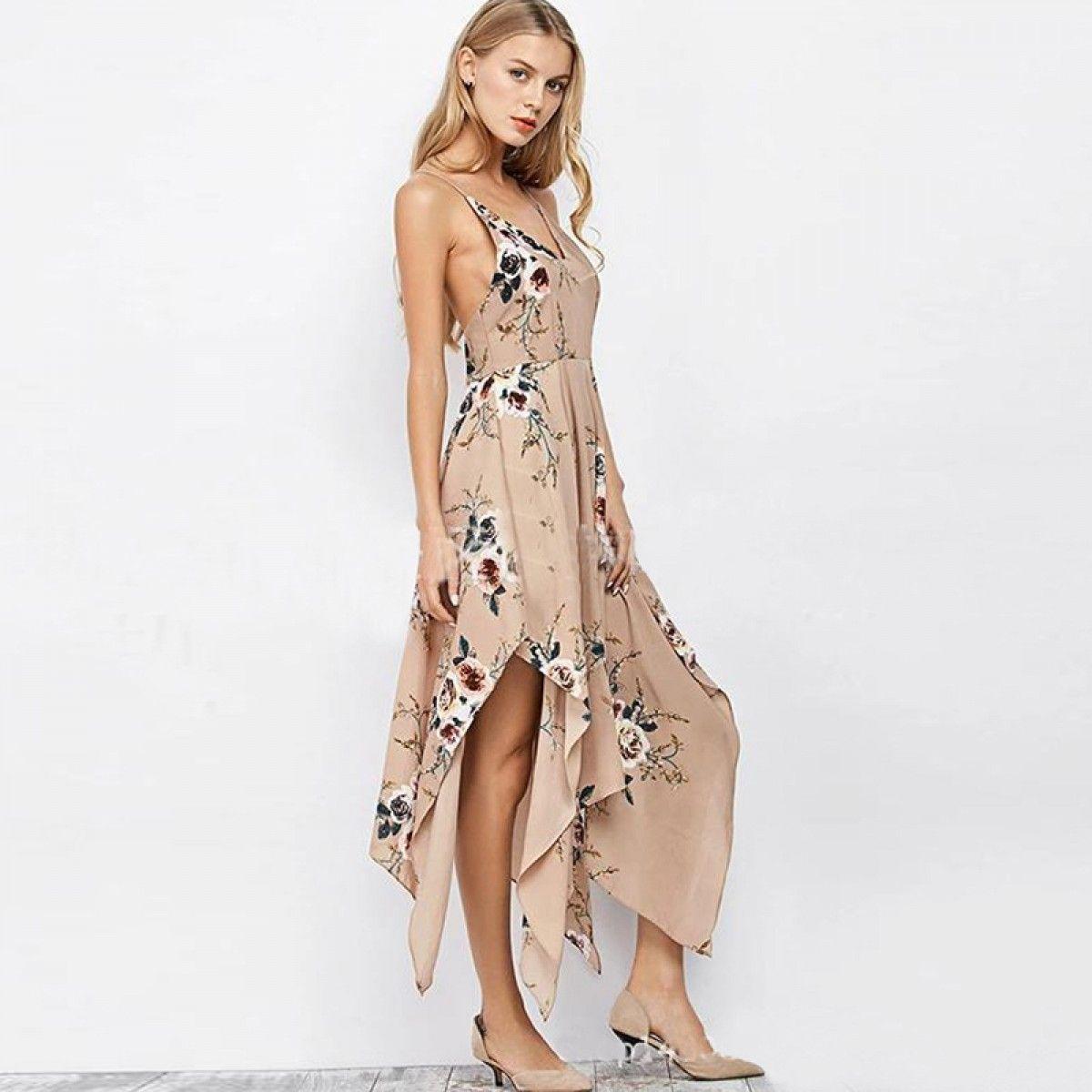 dd0fc600a2e Sexy Spaghetti Criss-Cross Straps Asymmtrical Floral Boho Dress