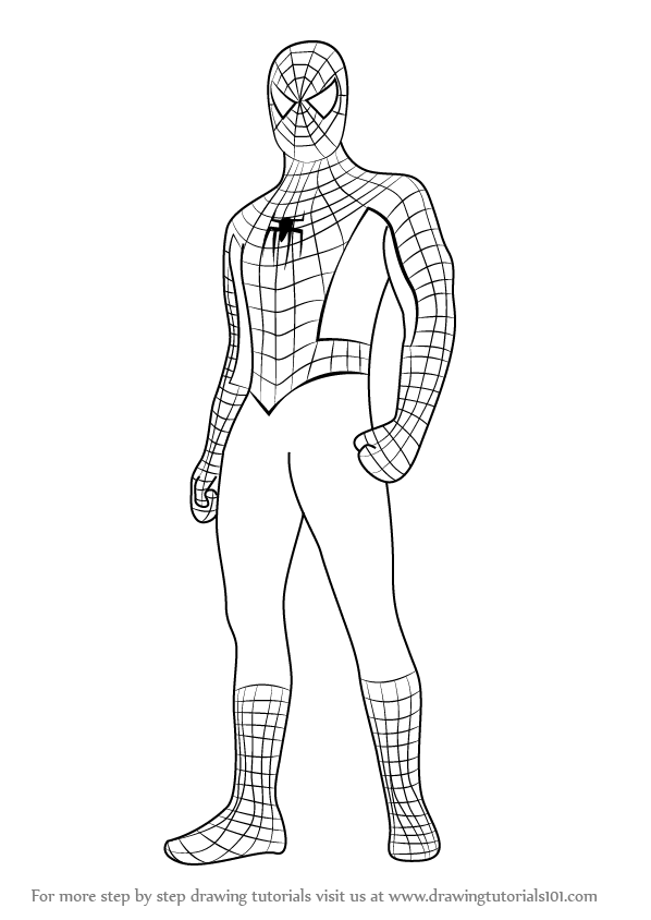 How To Draw Spiderman Standing Step By Step Learn Drawing By This Tutorial For Kids And Adults Spiderman Drawing Spiderman Painting Spiderman Coloring