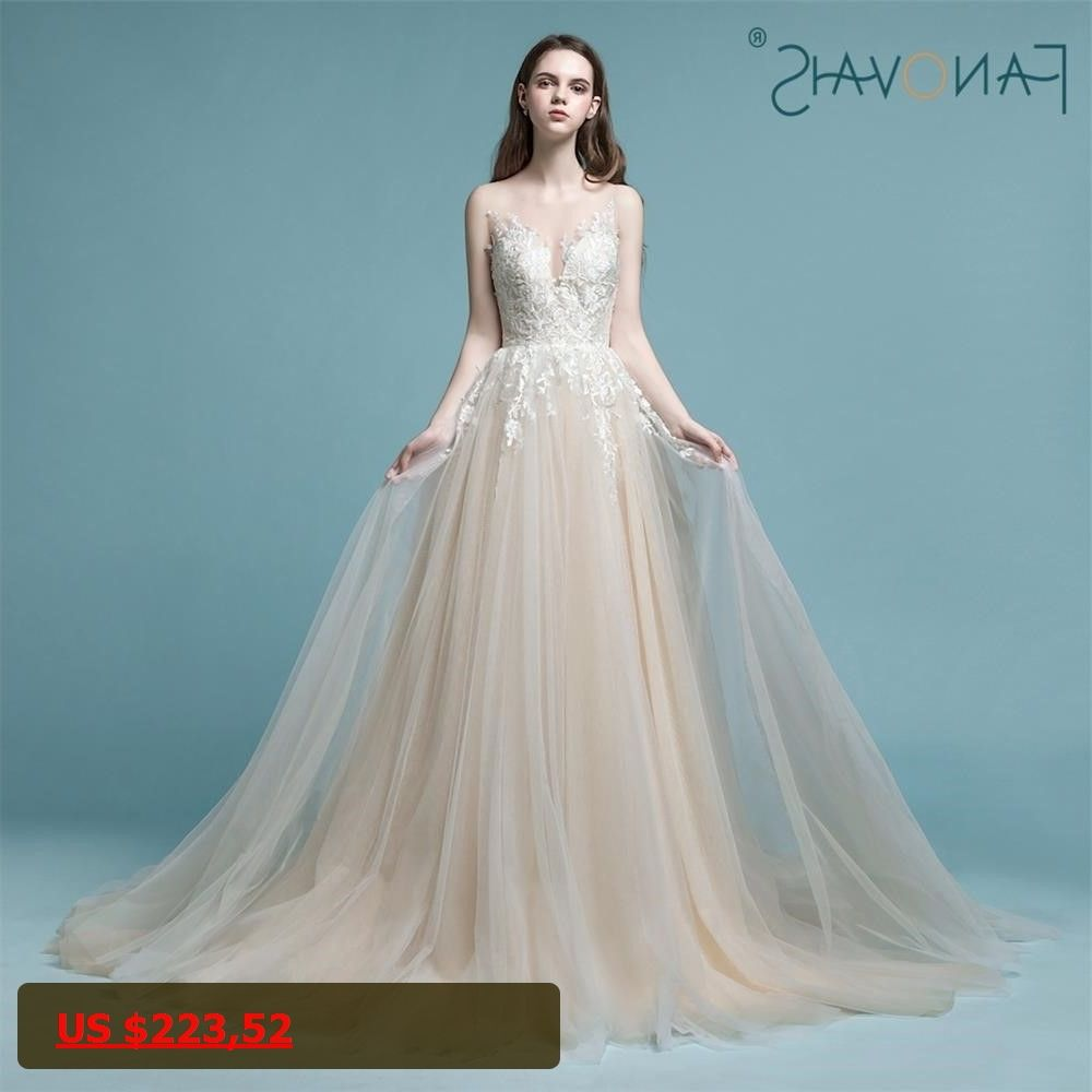 Vintae Champagne Wedding Dresses Long Sleeveless Lace Bridal Gown ...