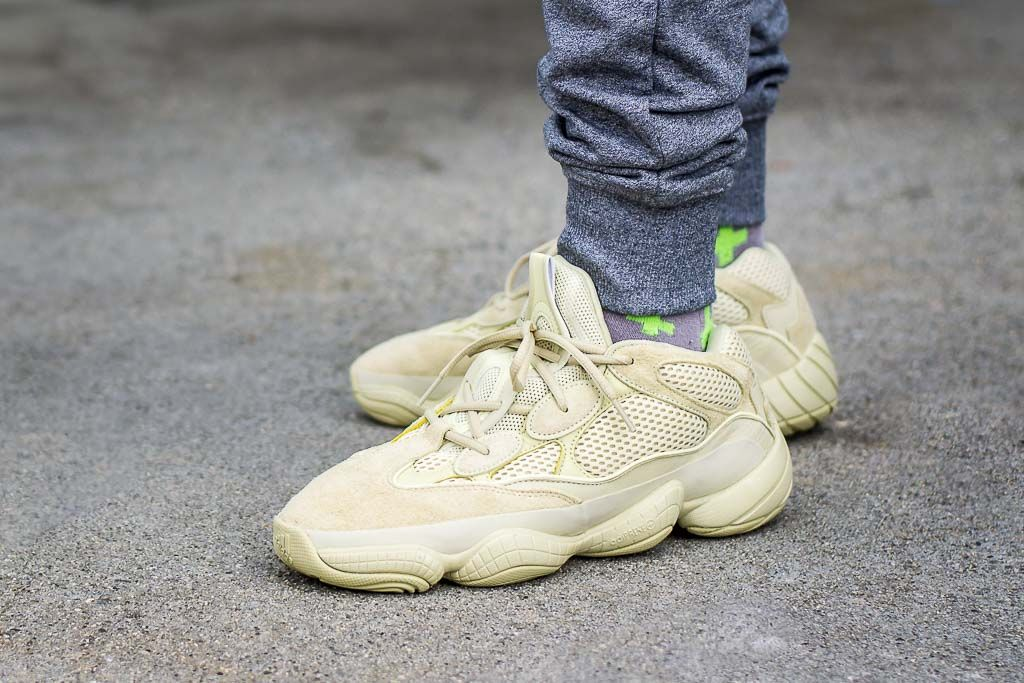 huge discount b97e7 e4567 Adidas Yeezy 500 Supermoon Yellow On Feet Sneaker Review ...