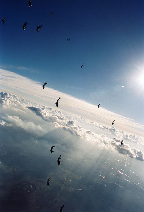 Skydivers in freefall #HelloColor
