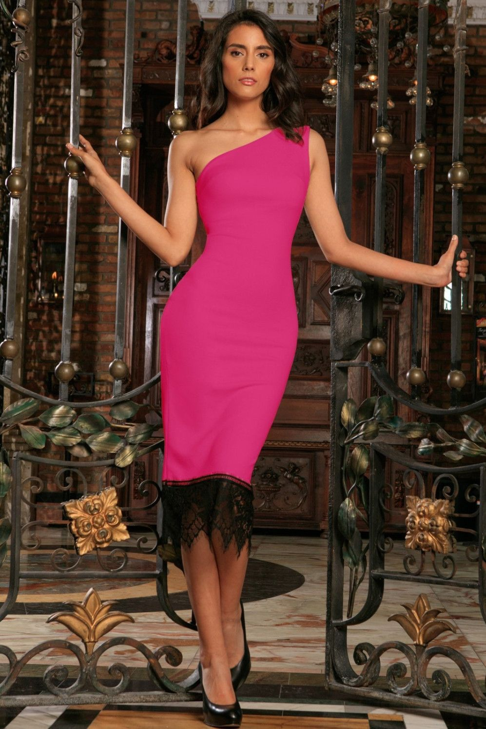 495b4463cda910 Fuchsia Hot Pink Stretchy One-Shoulder Bodycon Party Dress - Women ...