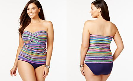 Anne Cole Plus Size Multicolor Bandeau Tankini Top & Tummy-Control Swim Bottoms