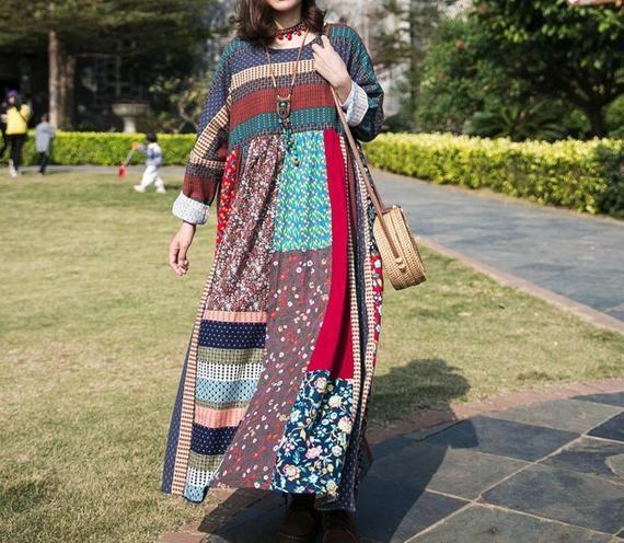 Women Cotton dress, maxi dress, pocket dress, high waist dress, long sleeve dress, oversized dress, loose robes, Boho Maxi dress