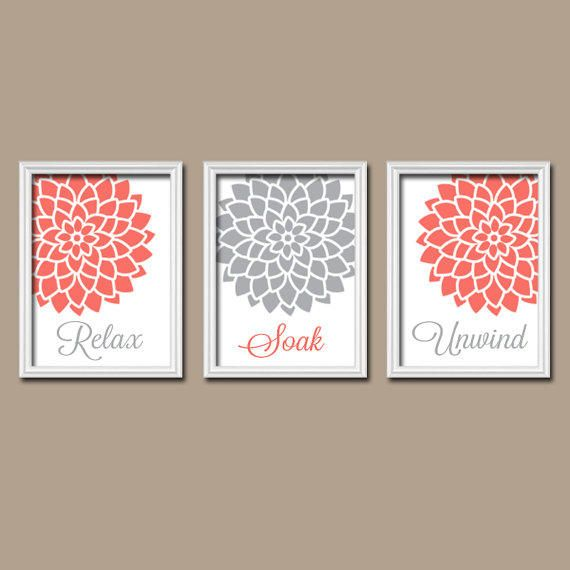 Relax Soak Unwind Plum Maroon Purple Grey Gray Flourish Dahlia Flower  Artwork Set Of 3 Bathroom Prints WALL Decor ART Picture Match
