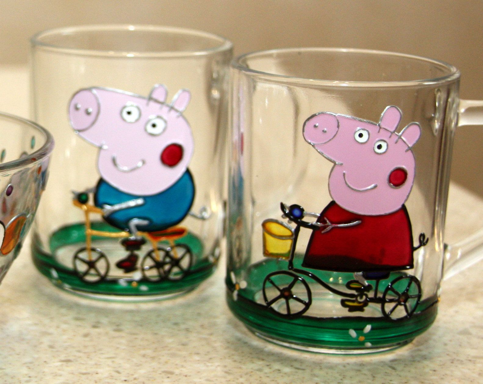 Personalized Peppa Pig mug-Hand painted kids cup-Personalized kids tableware set-Mug & Personalized Peppa Pig mug-Hand painted kids cup-Personalized kids ...
