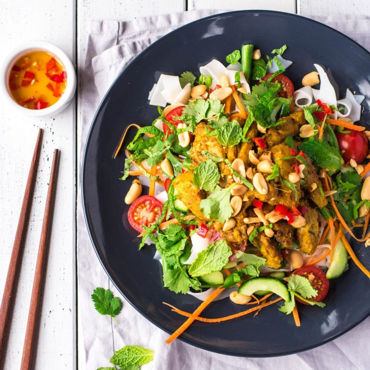 I picked up this Lemongrass Chicken Noodle Salad recipe in Vietnam and have put my own spin on it, adding rice stick noodles and lots of fresh vegetables.