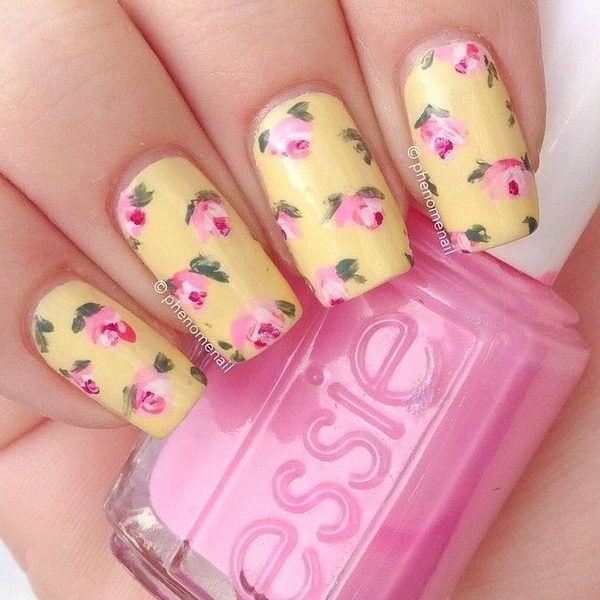 30 pretty flower nail designs flower nail art flower nails and 30 pretty flower nail designs prinsesfo Images
