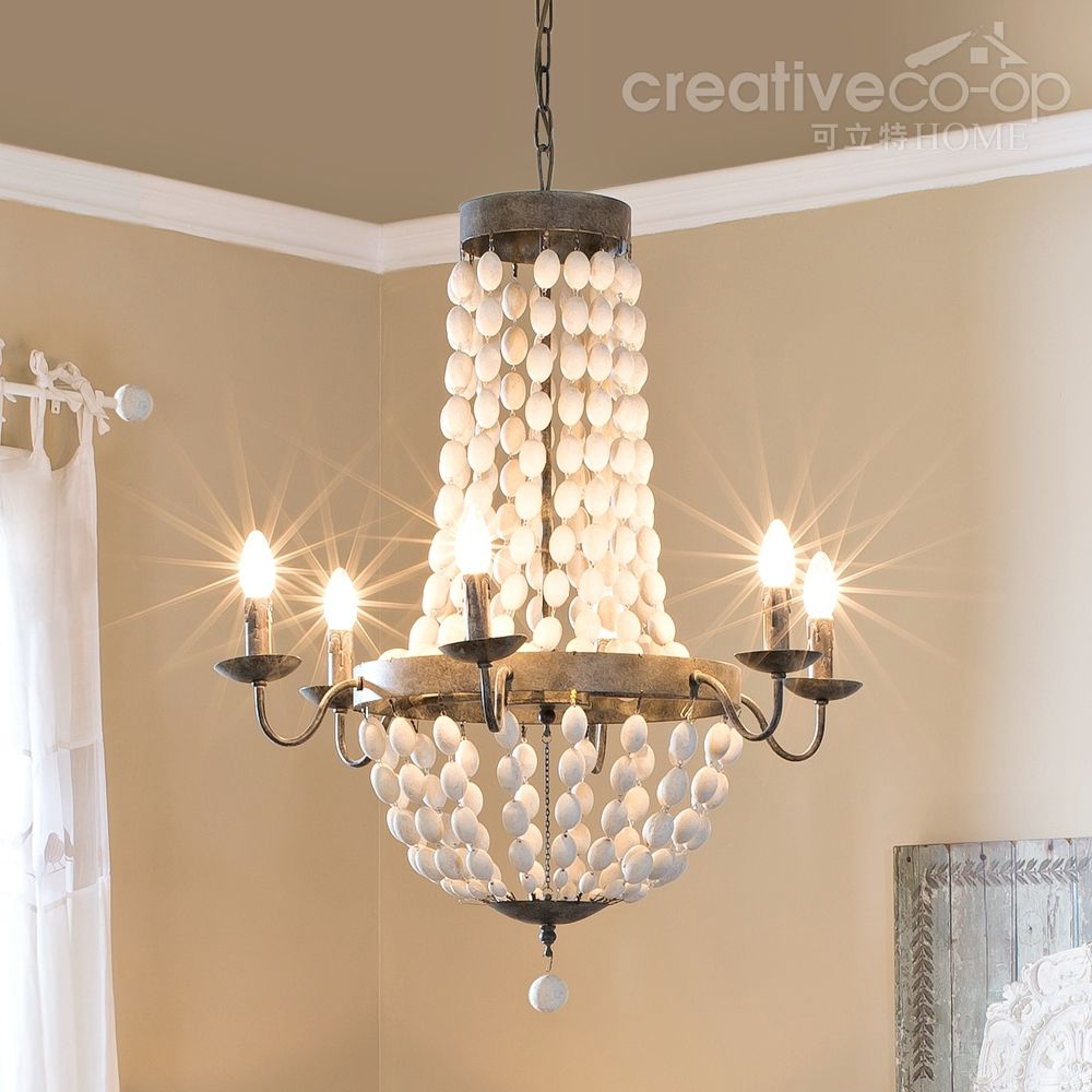 Distressed white wood beads chandelier creative co op home distressed white wood beads chandelier creative co op home arubaitofo Image collections