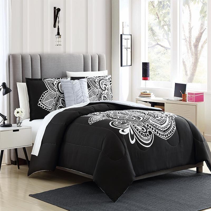 Ellison First Asia Dylan 4 Piece Mini Comforter Set Black White