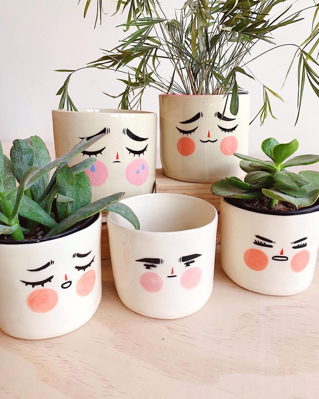 I Need This Emoji Planters In My Life Which One Is Your Fave By Lettersfromaubrey Zibbet Zi Painted Plant Pots Ceramics Projects Handmade Ceramics