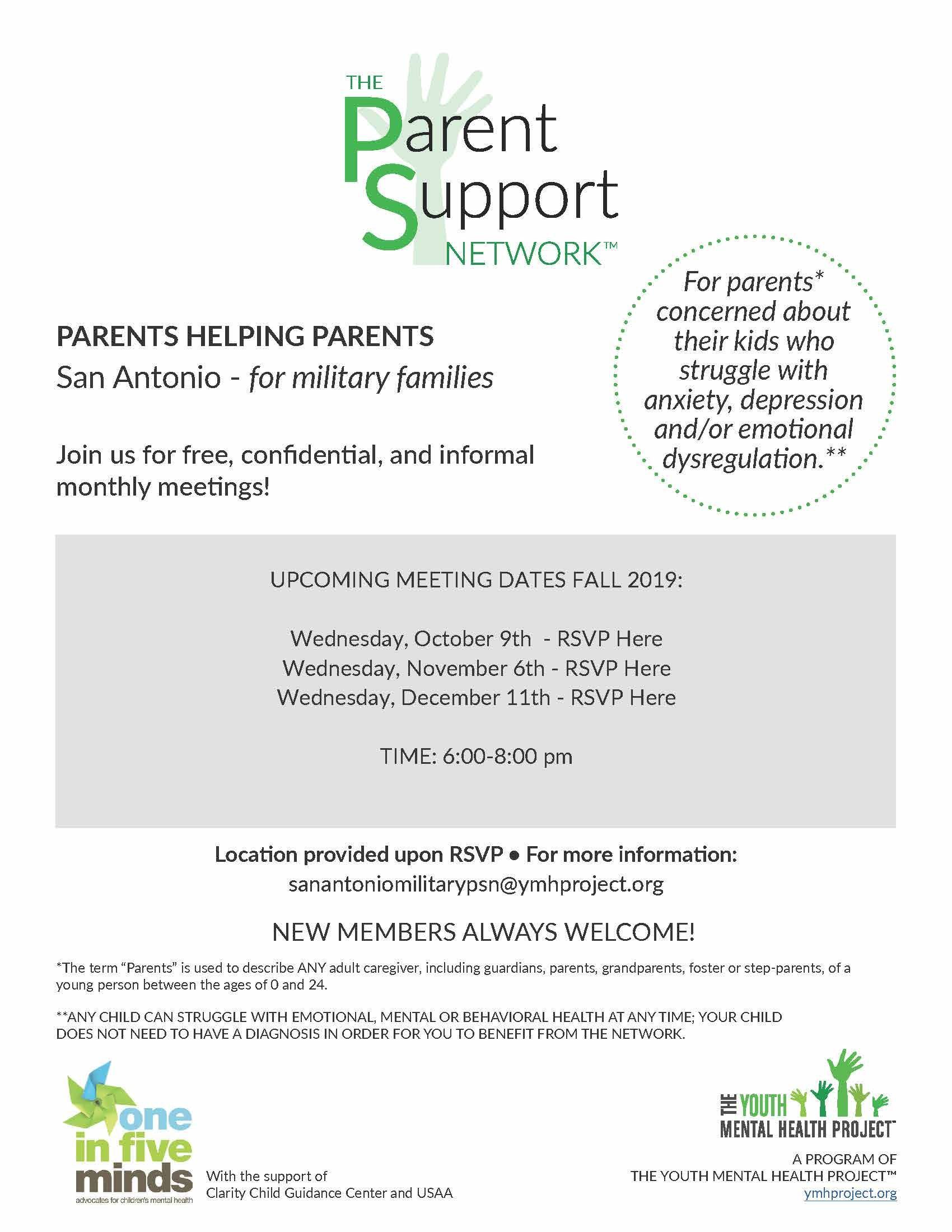 The Parent Support Network Is A Free Confidential Monthly Meeting For Caregivers Of Children Who Experience Emotional Mental Or Behavioral Issu Parent Support