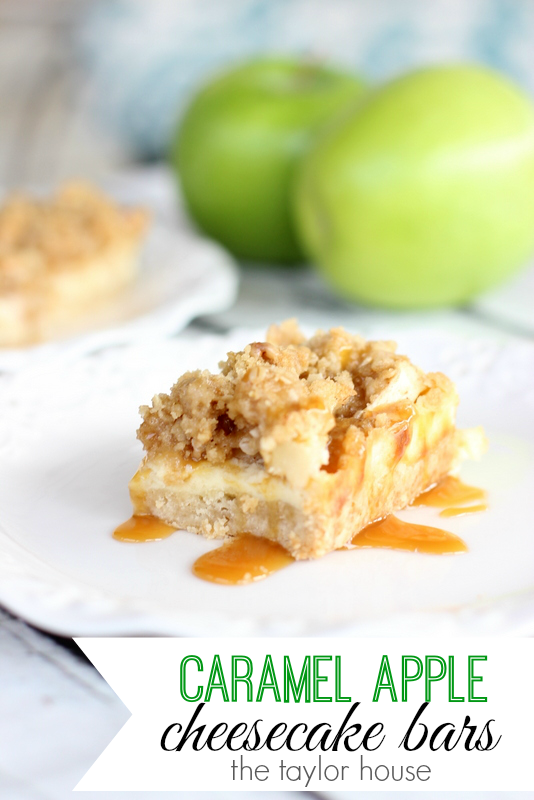 Caramel Apple Vanilla Cheesecake Bars | The Taylor House
