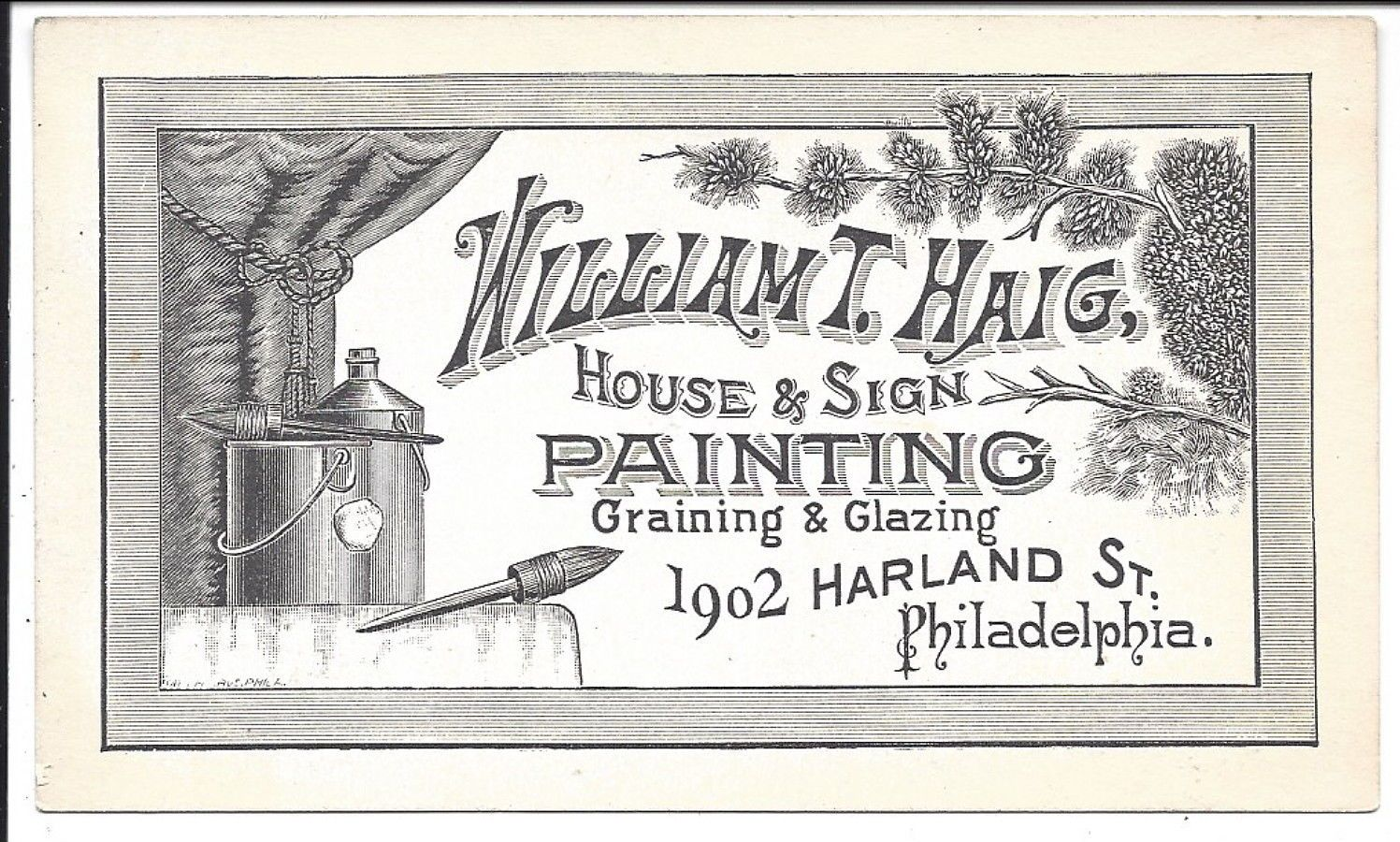 Excellent Illustrated Business Card House Sign Painter C1870s ...