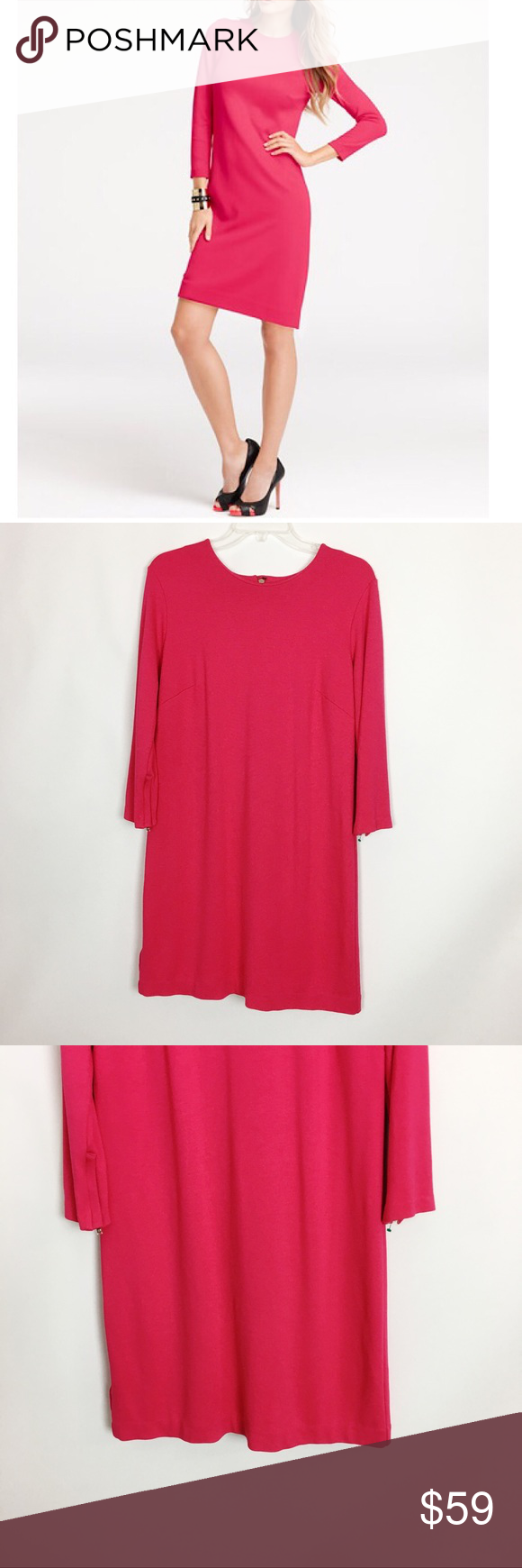 Ann Taylor Hot Pink 3 4 Sleeve Shift Dress 12 Clothes Design Dresses Shift Dress [ 1740 x 580 Pixel ]