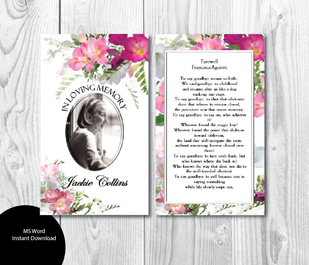 Printable Funeral Prayer Card 3 X 5 And 2 5 X 3 5 Wallet Size Etsy Prayer Cards Funeral Prayers Funeral Thank You