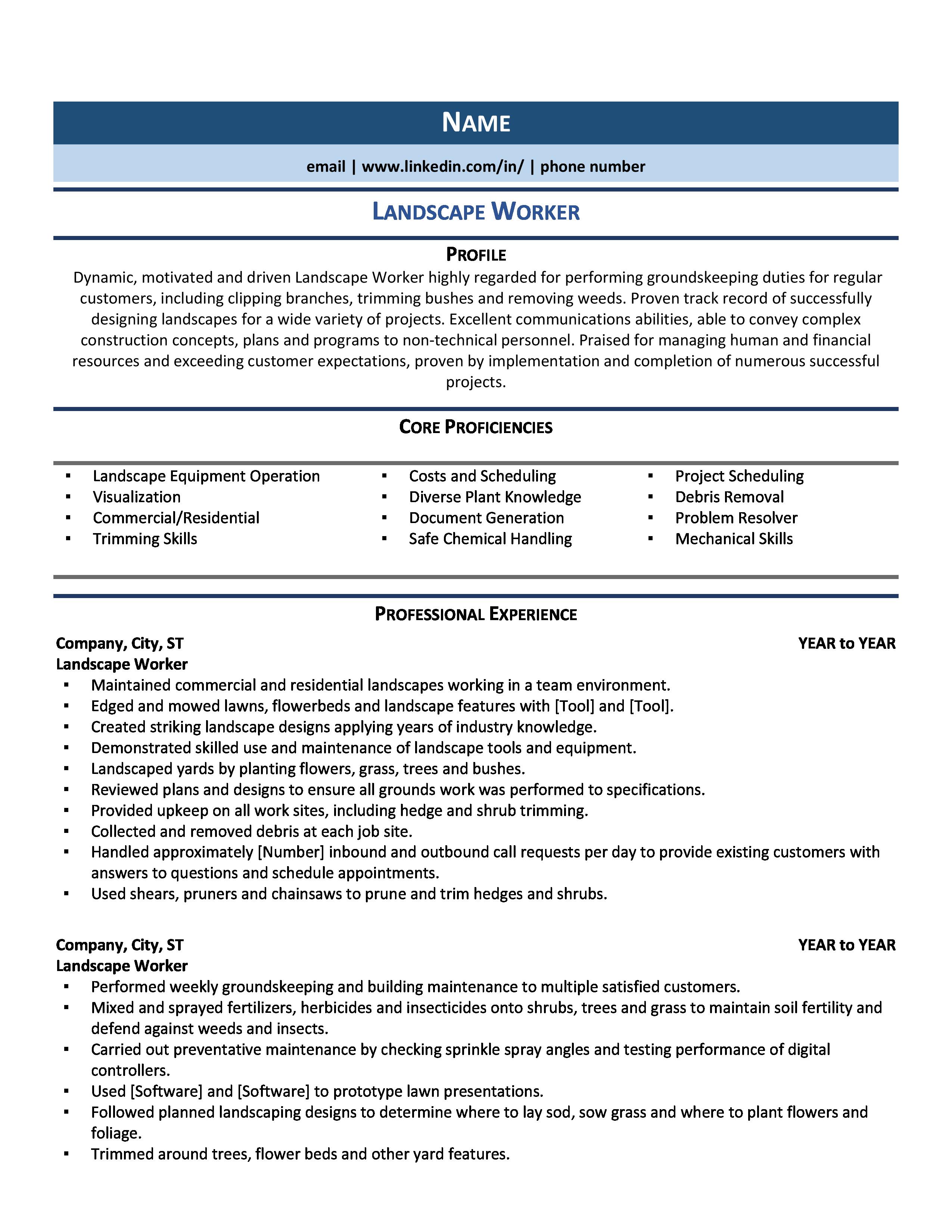 Landscaper Resume Samples Examples For 2020 Resume Examples Professional Resume Examples Resume Writing Tips