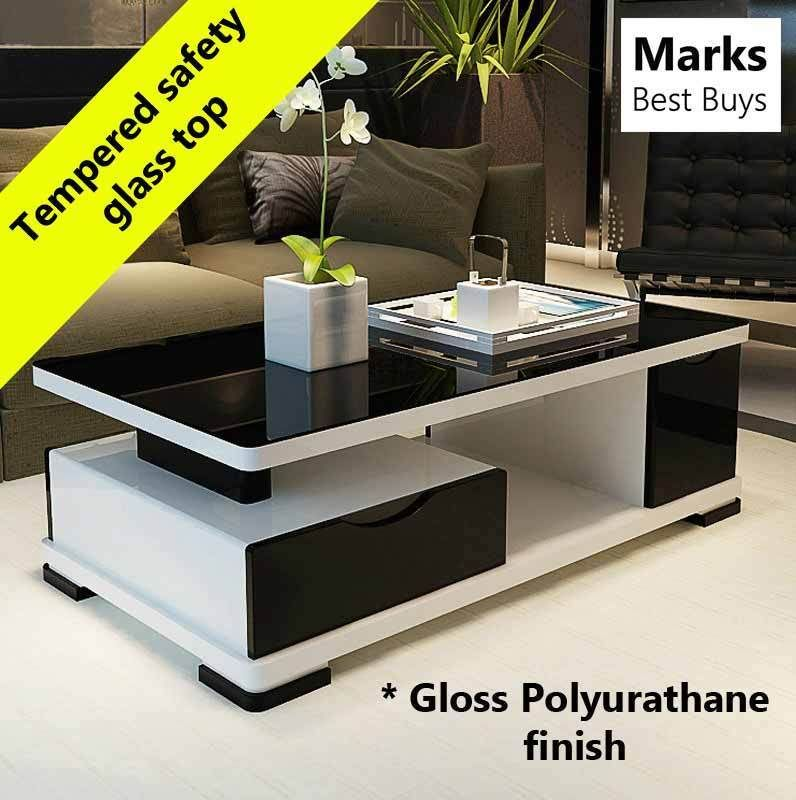 Coffee Table Black Glass Top Modern Style Wooden Frame
