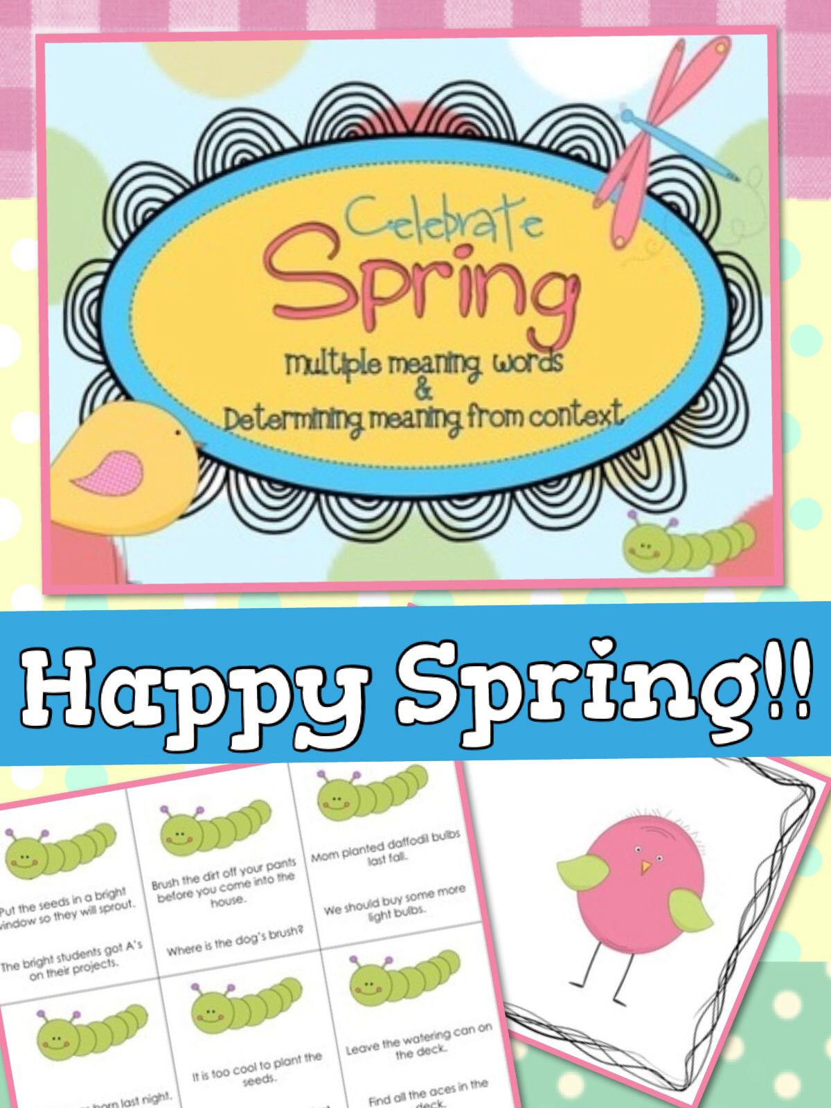 Celebrate spring multiple meaning words meaning from context spring language activities for elementary students from my speech roomhappy spring stopboris Choice Image