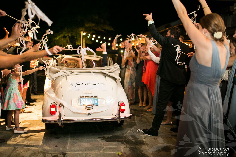 Ribbon wand and British vintage car wedding exit Atlanta