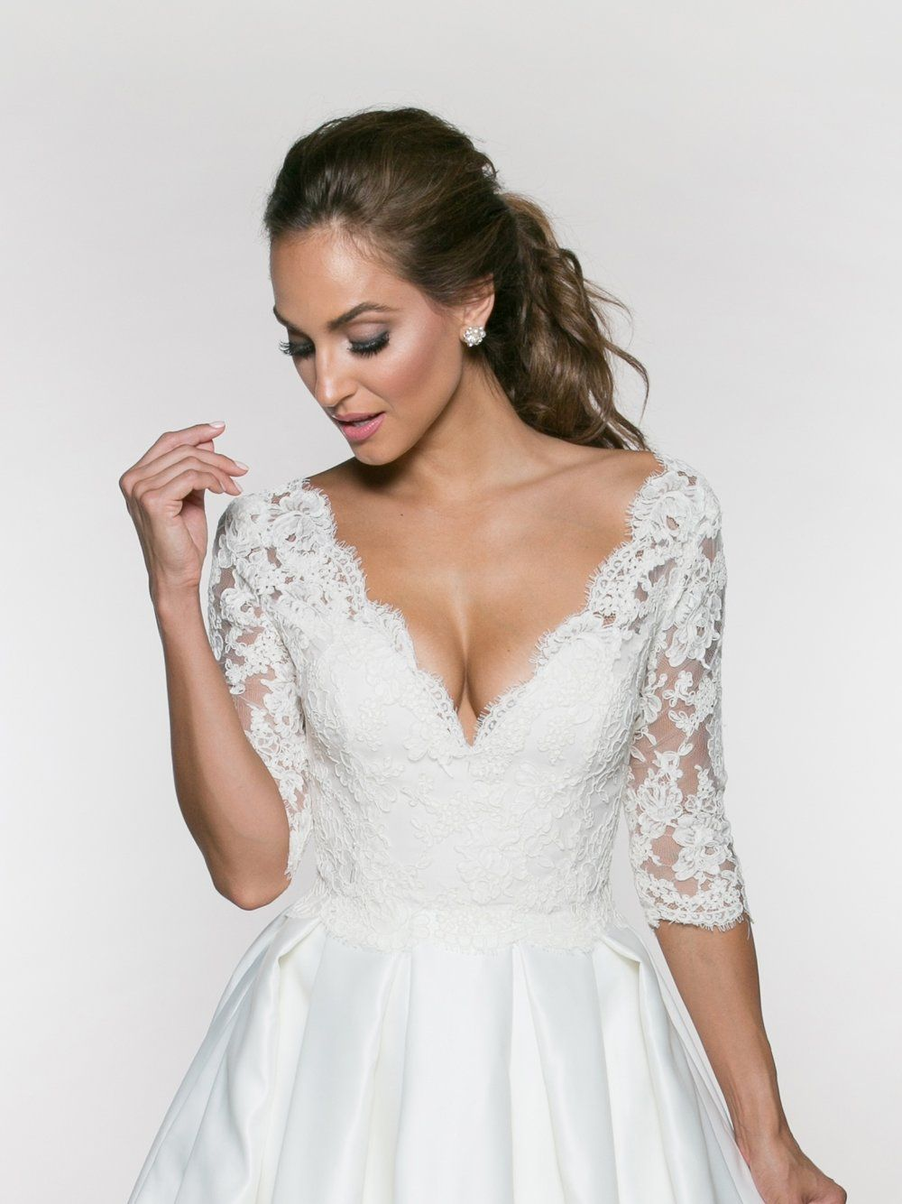 Bridal Add On Bodice Lace Top Wedding Dress Gown V Neck