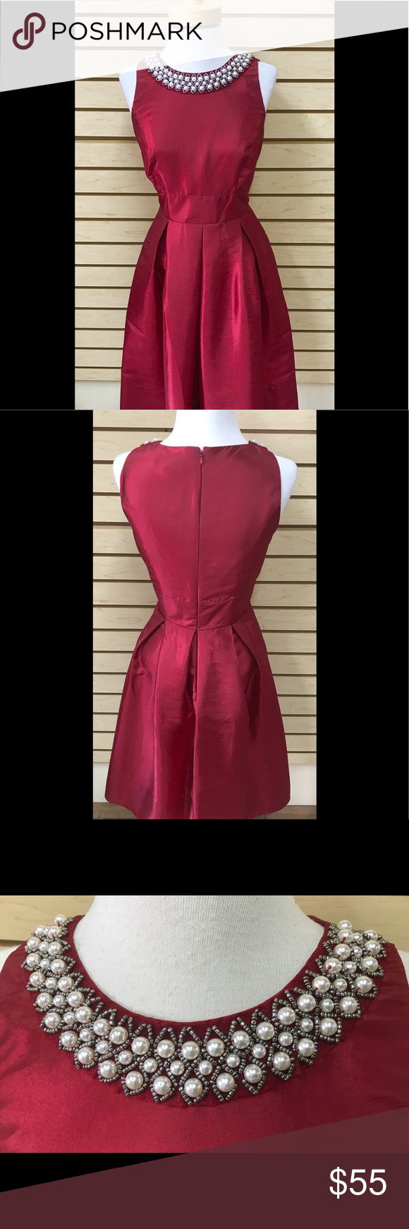Sangria Cocktail Dress With Pearl Details A Beautiful Wine Colored Cocktail Dress Ideal For The Holiday Season The Dress Ha Sangria Dress Dresses Pearl Dress [ 1740 x 580 Pixel ]