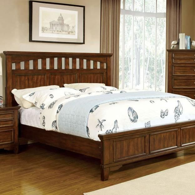247athome Chelsea Cottage Style Cherry Finish Cal King Size Bed Frame Set