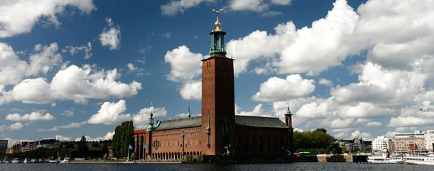 Stadshuset - the town hall in Stockhom which takes pride of place on the waterfront. Take a guided tour and see the incredible golden room, tiled with thousands of golf leaf mosaics.